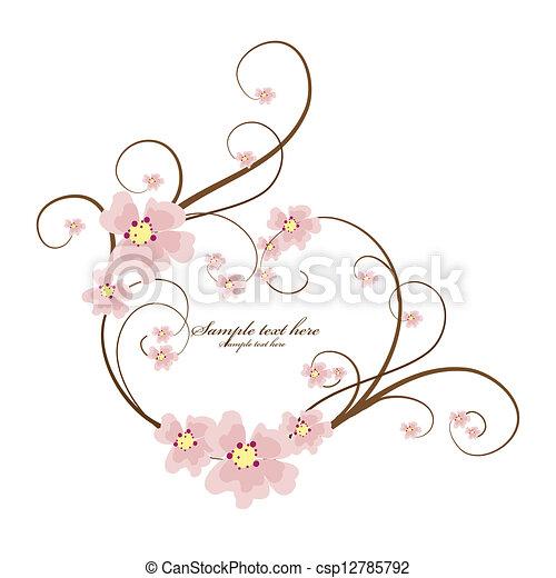 ornamental, coração, texto, quadro, lugar, seu - csp12785792
