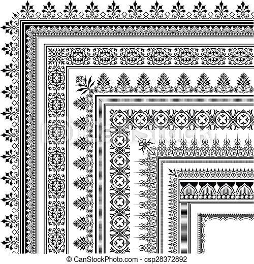 Ornamental corner border made of multiple frames. Elegant corner ...