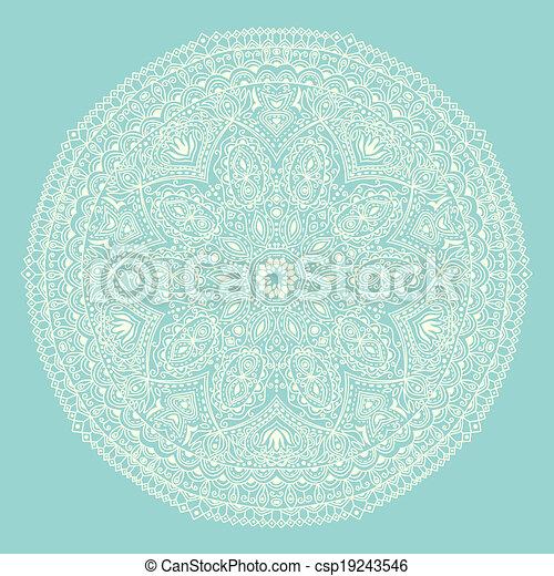 Patrón de encaje redondo ornamental, fondo circular con muchos detalles, parece encaje hecho a mano - csp19243546