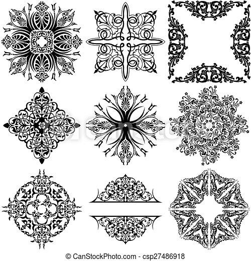 Elementos de diseño ornamentales - csp27486918