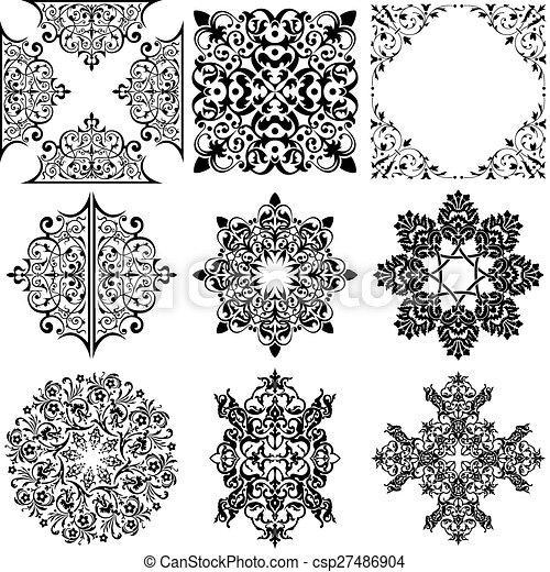 Elementos de diseño ornamentales - csp27486904