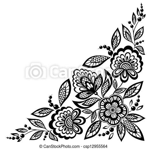 Las flores de encaje adornado de esquina están decoradas en blanco y negro - csp12955564