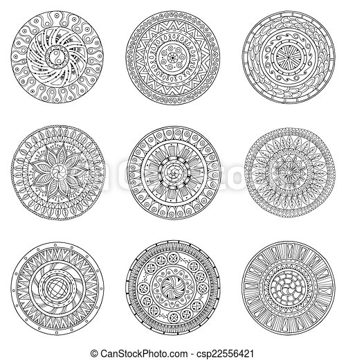 Círculos dibujados a mano, elementos de diseño de logo vector. Estilo de garabato. Estilo Círculo vectorla negro y blanco fondo. Patrón redondo ornamental. - csp22556421