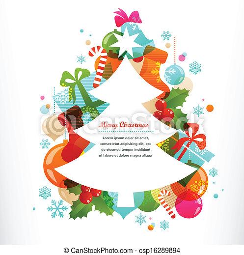 ornamental, etiketter, elementer, træ, jul - csp16289894