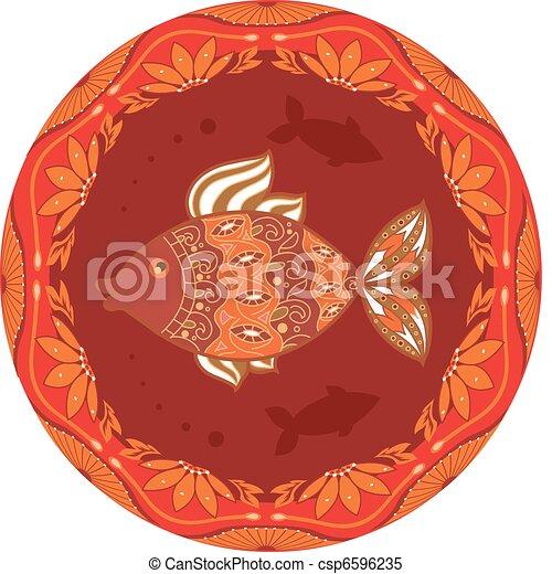 ornamental fish on ethnic floral ci - csp6596235