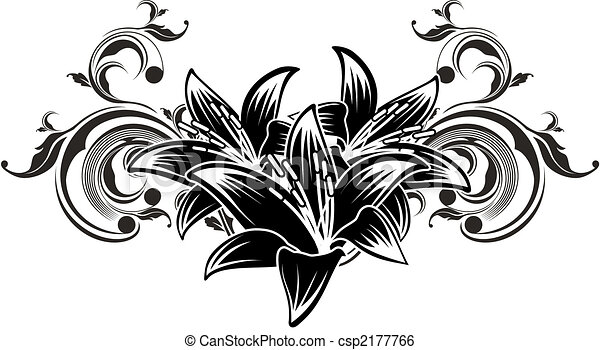 Line Drawing Of Flowers Clipart : Ornamental flowers design. floral ilustration in vector clip art