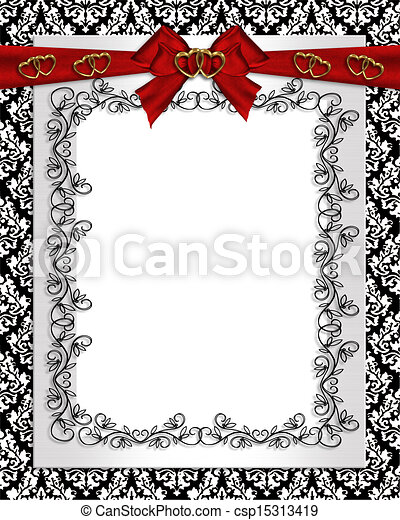 Ornamental Frame Damask In Black White And Red For Clipart