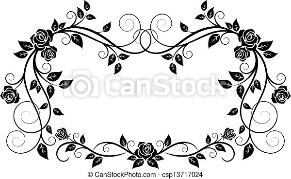 Ornamental frame with rose flowers - csp13717024