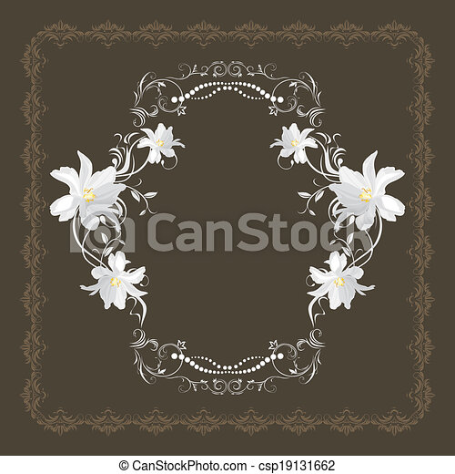 Ornamental frame with white flowers on the dark brown background ornamental frame with white flowers csp19131662 mightylinksfo