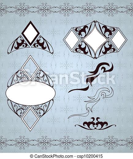Ornamental frames and sign designs. Vector set - csp10200415
