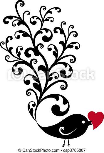 ornamental, fugl, rødt hjerte - csp3785807