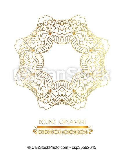Ornamental gold circle frames - csp35592645