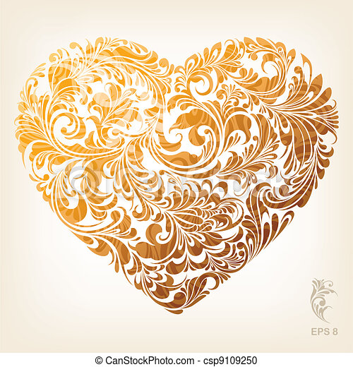 Ornamental Gold Heart Pattern - csp9109250