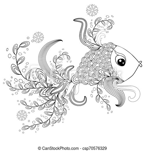 - Ornamental Graphic Fish, Floral Line Pattern. Zentangle. Coloring Book Page  For Adult. Bohemia Concept For Restaurant Menu CanStock