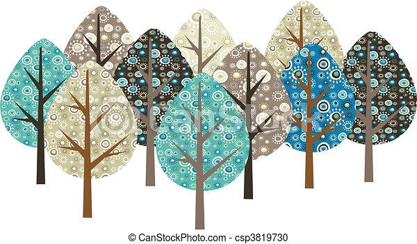ornamental, grunge, træer - csp3819730