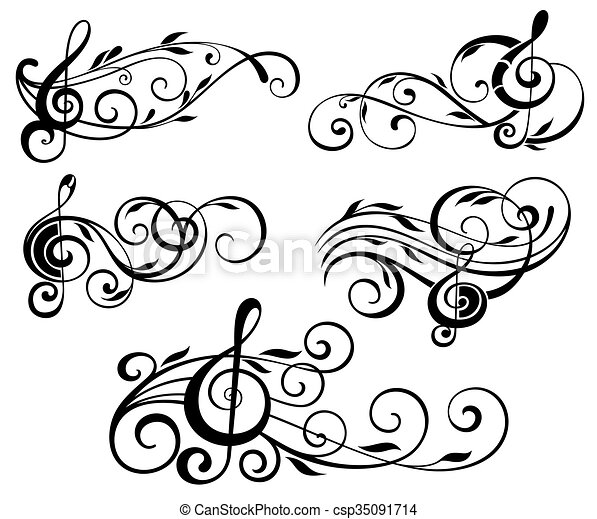 ornamental music notes with swirls music elements vector clip art rh canstockphoto com ornamental vector art ornamental vector art