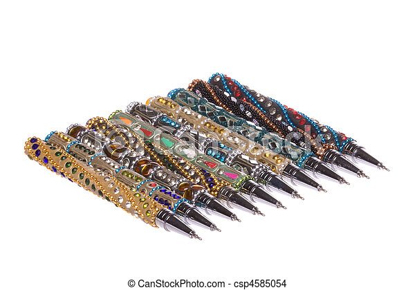 Ornamental Nepalese Pens Macro Isolated - csp4585054