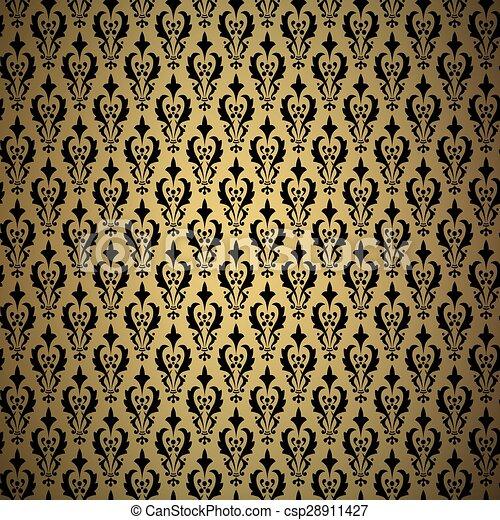 Antecedentes antiguos de oro, patrón ornamental vectorial - csp28911427