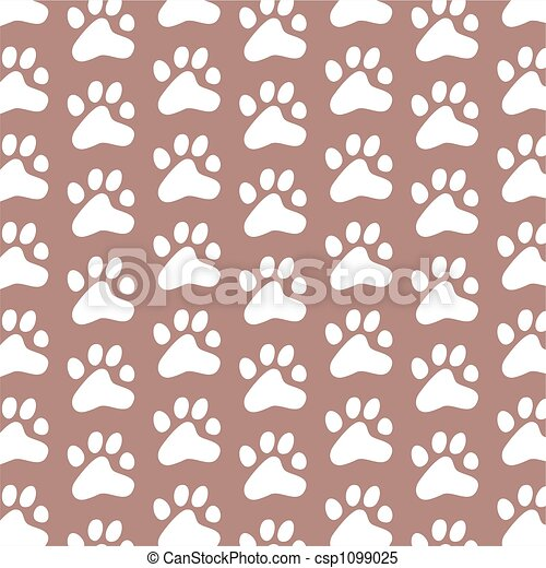 Ornamental Paws Decorative Repeating Pattern Generic Paw Print