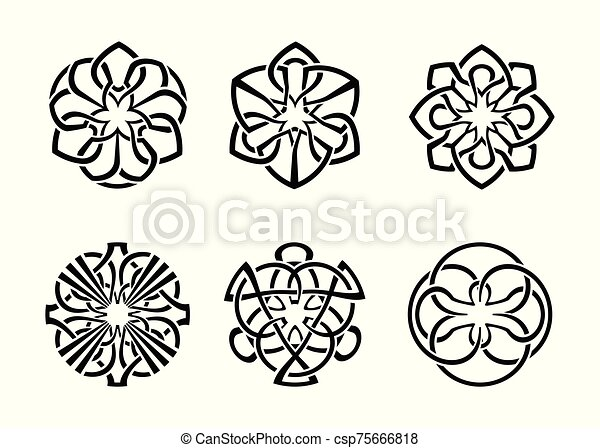 ornamental round celtic frame set 04 - csp75666818