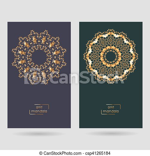 Ornamental Two Cards With Gold Flower Oriental Mandala On Dark Blue And Green Color Background Ethnic Vintage Pattern Indian Asian Arabic Islamic