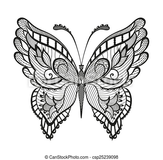 Ornamented abstract butterfly - csp25239098