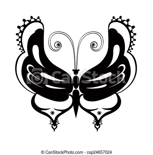 Ornamented abstract silhouette butterfly - csp24657024
