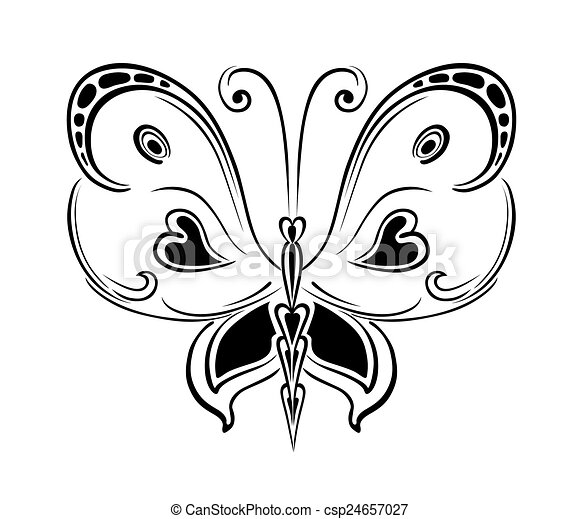 Ornamented abstract silhouette butterfly - csp24657027