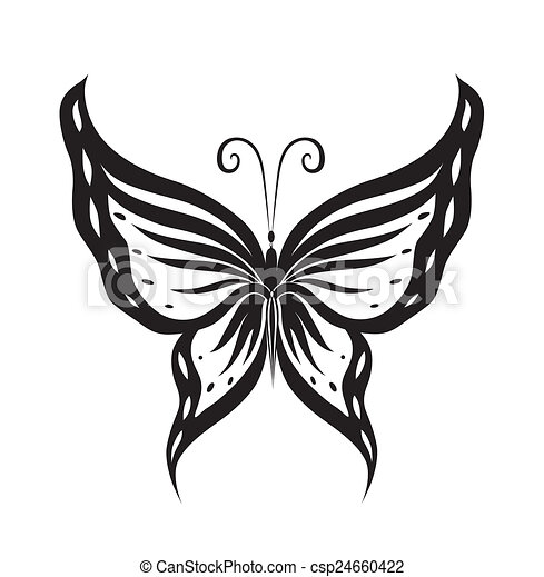 Ornamented abstract silhouette butterfly - csp24660422