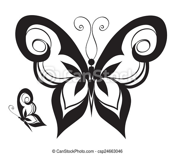 Ornamented abstract silhouette butterfly - csp24663046