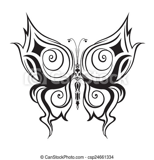Ornamented abstract silhouette butterfly - csp24661334