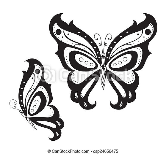 Ornamented abstract silhouette butterfly - csp24656475