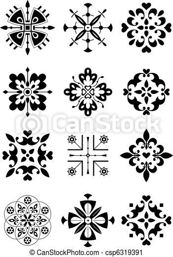 ornamentere, decor, mønster - csp6319391