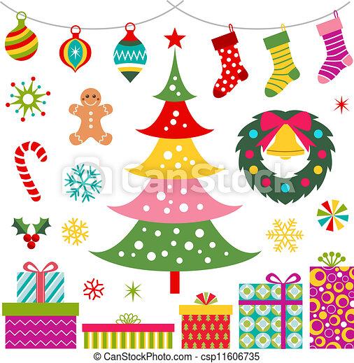 ornamento, árvore, presente natal - csp11606735