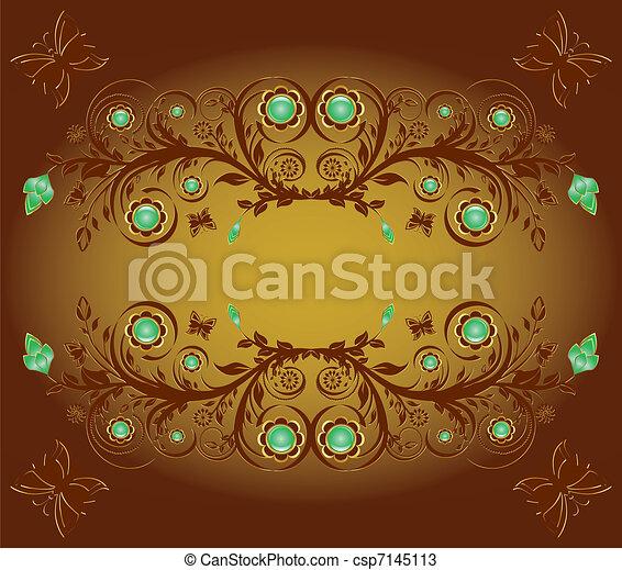 ornamento, illustrazione, farfalle, vettore, fondo, floreale - csp7145113