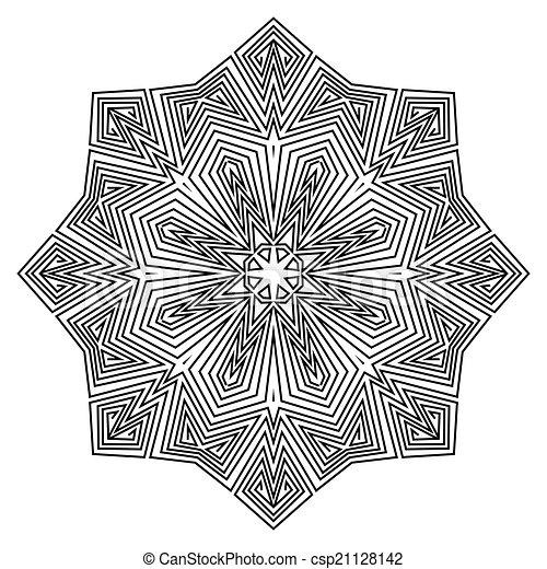 ornamento, mandala., pattern., redondo - csp21128142