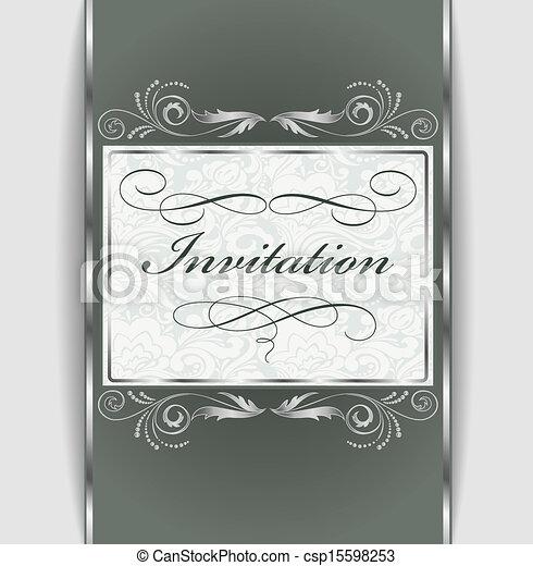 ornamento, prata, convite - csp15598253