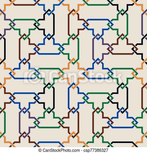ornamento, seamless, colorido, morisco, mosaico - csp77386327