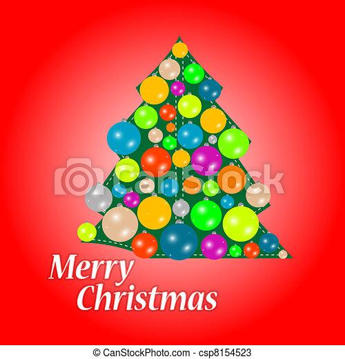 Árbol navideño con adornos, tarjeta de Navidad - csp8154523