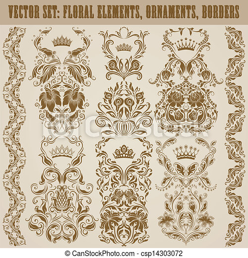 ornaments., ベクトル, セット, ダマスク織 - csp14303072