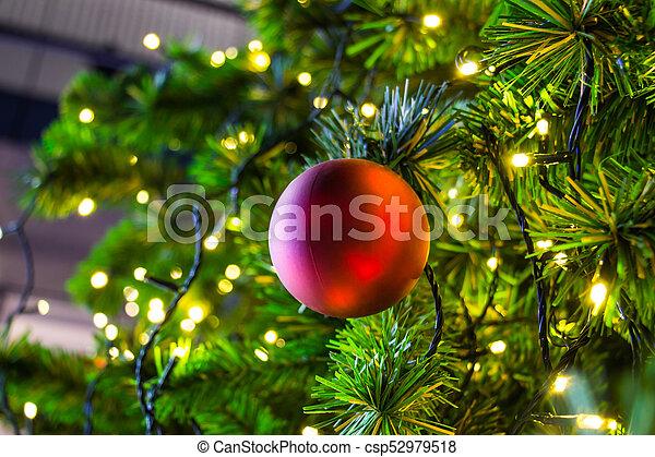 Christmas Tree Tinsel.Ornaments And Lights On A Christmas Tree Tinsel And Toys Balls And Other Decorations On The Christmas