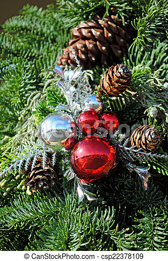 Ornaments & pine branches - csp22378109