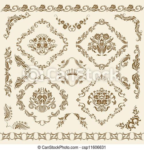 Decorados de vector damasco. - csp11606631