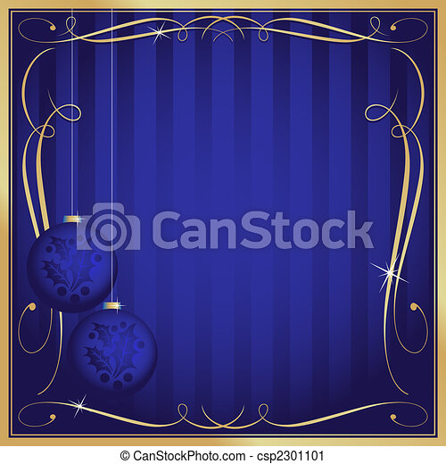 Ornate Blue Christmas Card or Tag with Copy Room - csp2301101