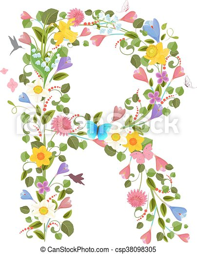 Ornate capital letter font consisting of the spring flowers and ornate capital letter font consisting of the spring flowers and csp38098305 altavistaventures Choice Image