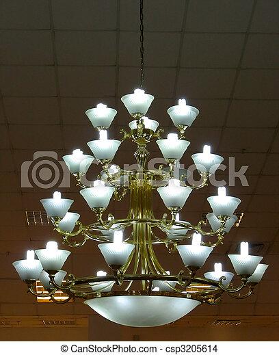 Ornate chandelier luster theater interior detail - csp3205614