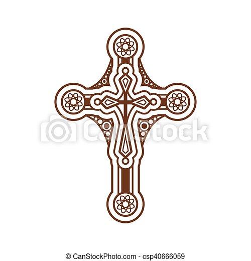 Ornate christian cross - csp40666059