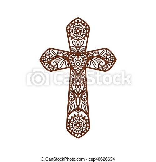 Ornate christian cross on white - csp40626634