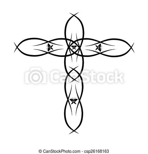 Ornate Christian Cross Vector - csp26168163