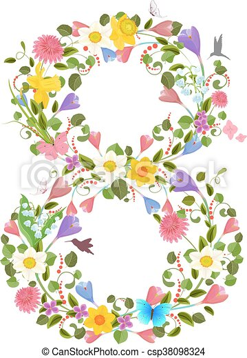 ornate font consisting of the spring flowers and flying hummingb - csp38098324